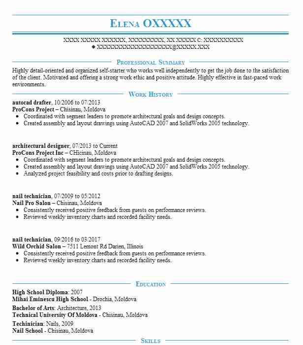 autocad drafter resume example resumes livecareer template headline or summary on new Resume Autocad Resume Template