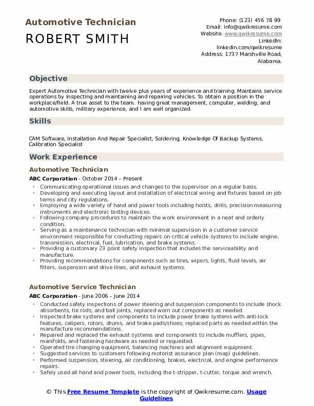 automotive technician resume samples qwikresume examples pdf free extractor government Resume Automotive Technician Resume Examples
