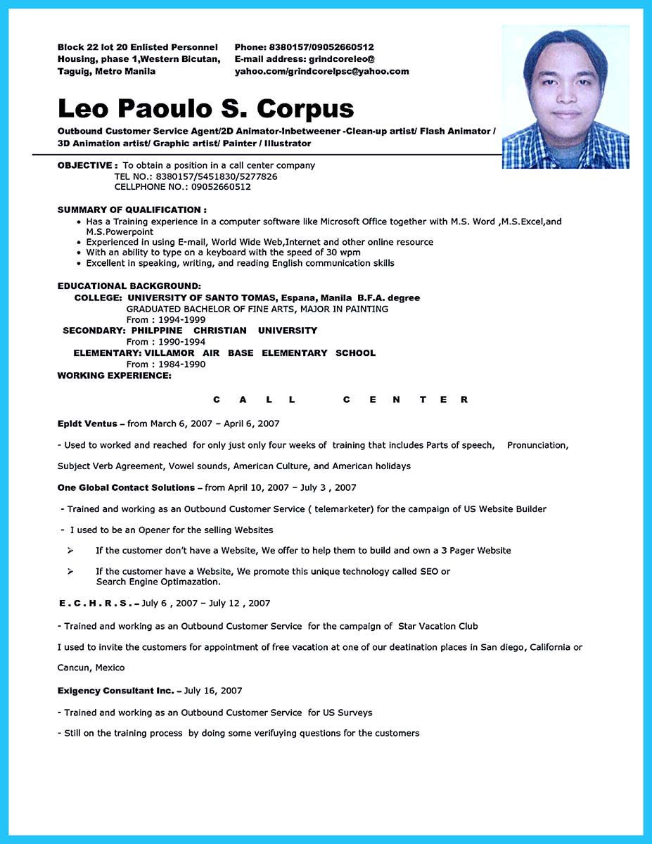 awesome impressing the recruiters with flawless call center resume check more at http Resume Resume Template For Call Center Agent