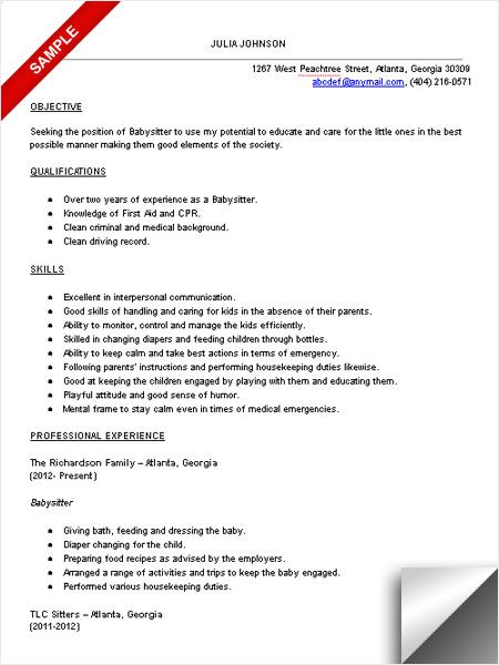 babysitter resume sample objective skills examples lpn no experience job gaps on civil Resume Babysitter Resume No Experience