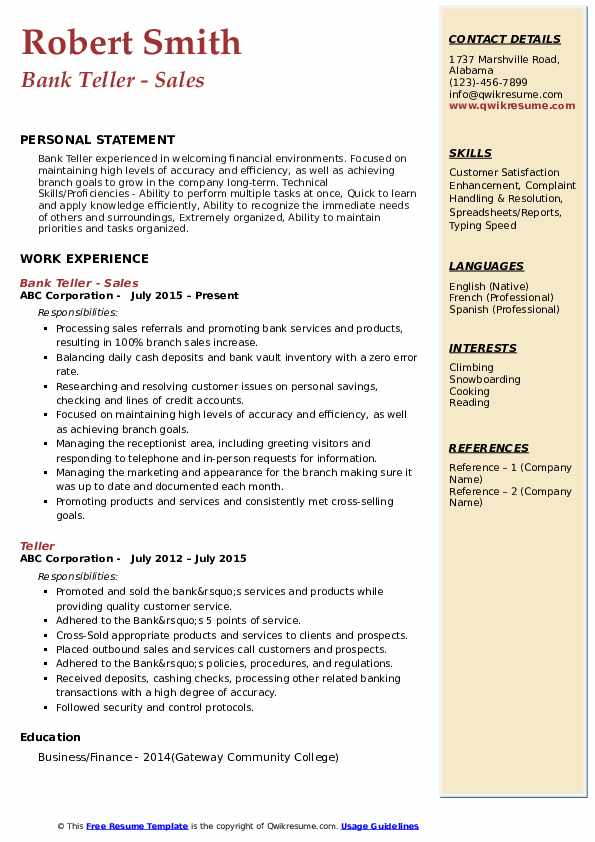 bank resume samples qwikresume professional pdf free search for recruiters objective Resume Professional Teller Resume