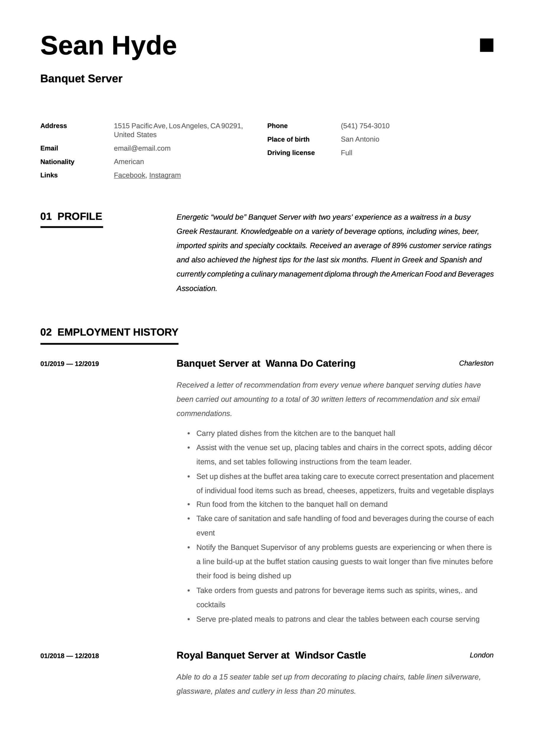 banquet server resume template in guided writing builder with job descriptions gdpr pre Resume Resume Builder With Job Descriptions