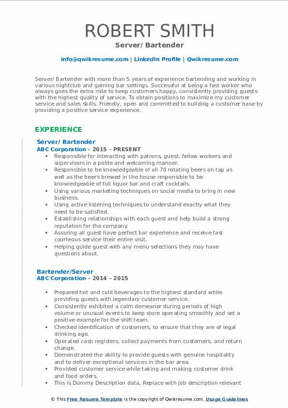bartender resume samples qwikresume server and pdf admin duties format for veterinarians Resume Server And Bartender Resume