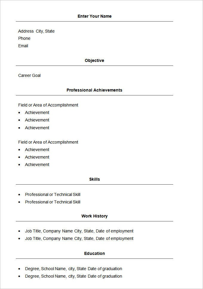 basic resume templates pdf free premium simple format word file template all services Resume Simple Resume Format Word File Download