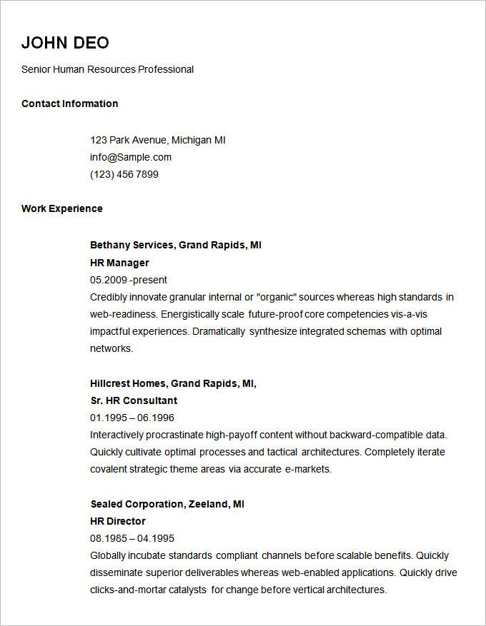 basic resume templates pdf free premium simple sample template for senior hr professional Resume Basic Simple Resume Sample