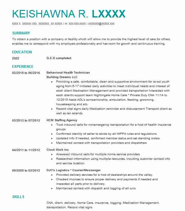 behavioral health technician resume example livecareer objective for mental help reviews Resume Objective For Mental Health Resume