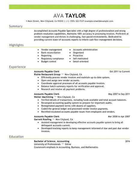 best accounts payable specialist resume example livecareer sample accounting finance Resume Accounts Payable Resume Sample
