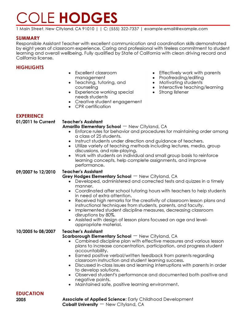best assistant teacher resume example livecareer education description for contemporary Resume Education Description For Resume