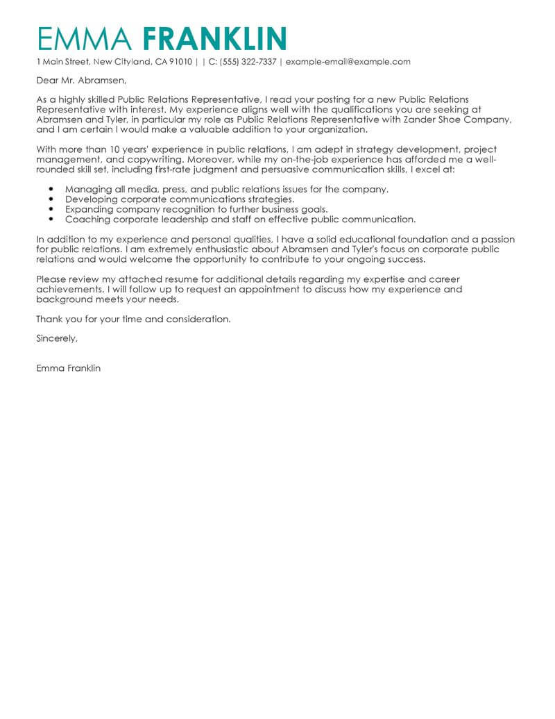 best business cover letter examples livecareer resume format marketing public relations Resume Resume Cover Letter Format Examples