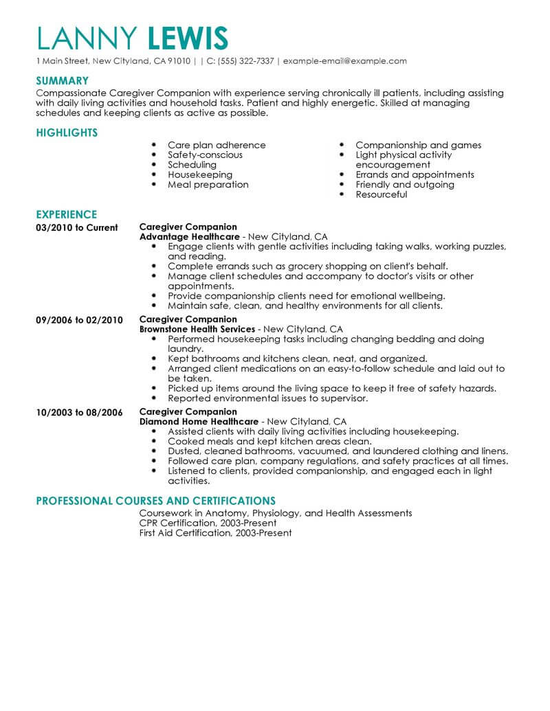 best caregivers companions resume example livecareer in home caregiver wellness Resume In Home Caregiver Resume