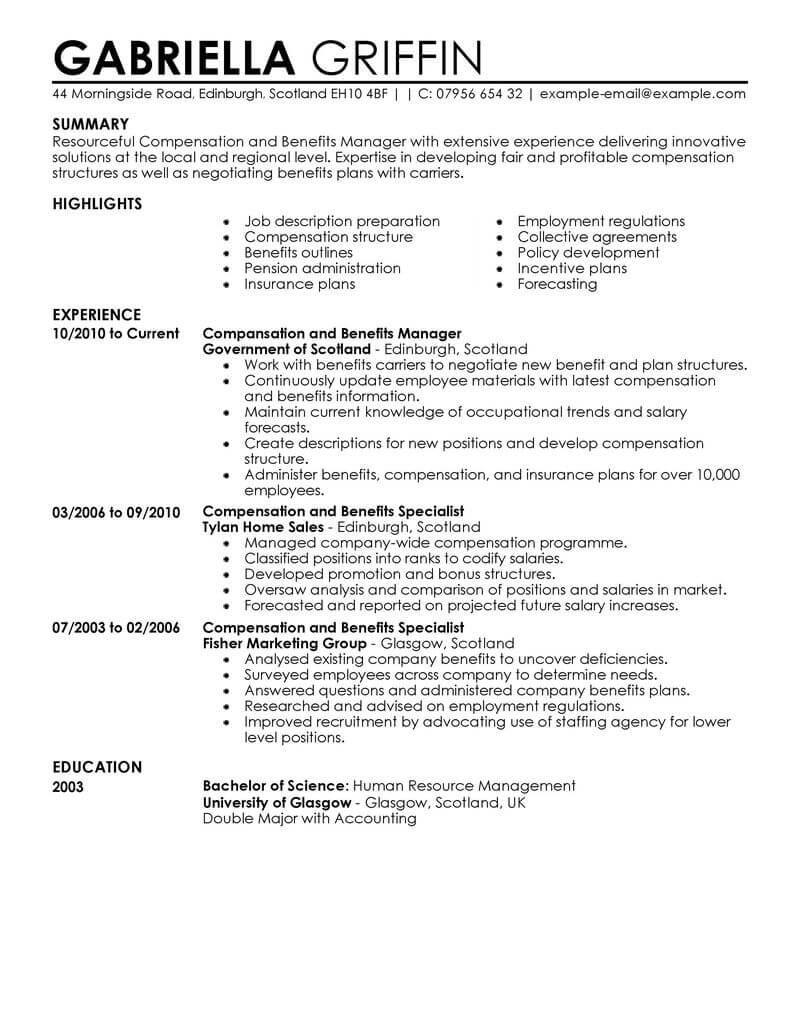 best compensation and benefits resume example livecareer manager human resources Resume Compensation And Benefits Manager Resume