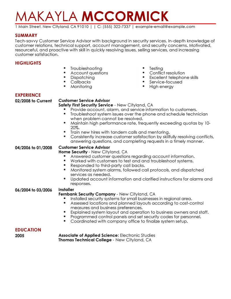 best customer service advisor resume example livecareer present tense emergency services Resume Present Tense Resume Example