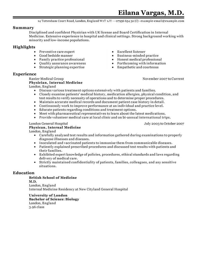 best doctor resume example livecareer examples for hospital jobs healthcare classic Resume Resume Examples For Hospital Jobs
