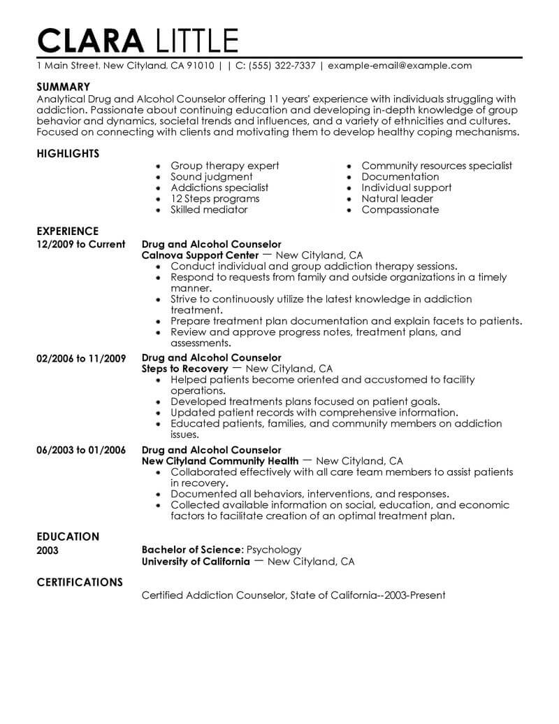 best drug and alcohol counselor resume example livecareer mental health therapist social Resume Mental Health Therapist Resume