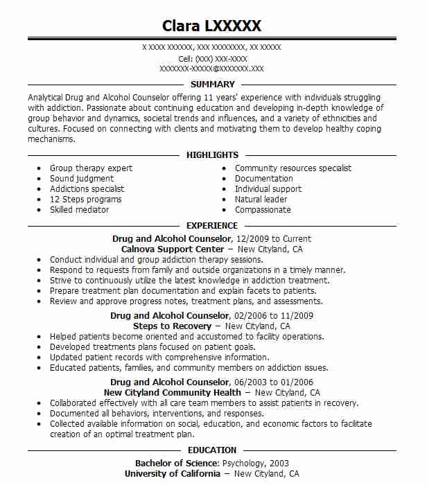 best drug and alcohol counselor resume example livecareer substance abuse templates csx Resume Substance Abuse Counselor Resume Templates