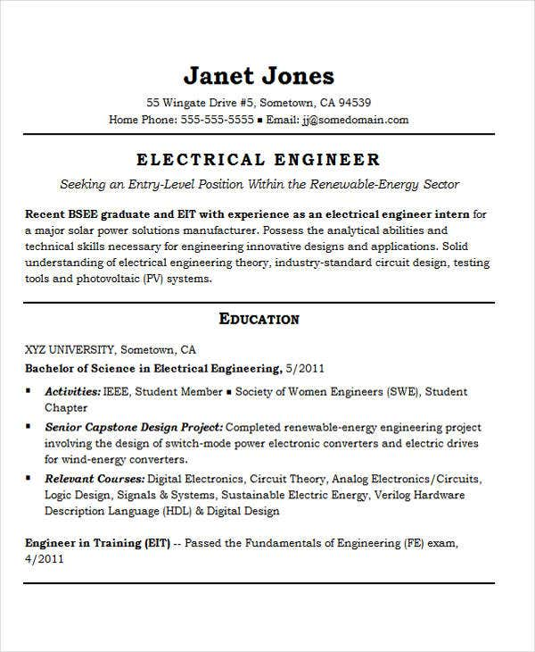 best engineering resume templates pdf free premium sample for energy engineer entry level Resume Sample Resume For Energy Engineer