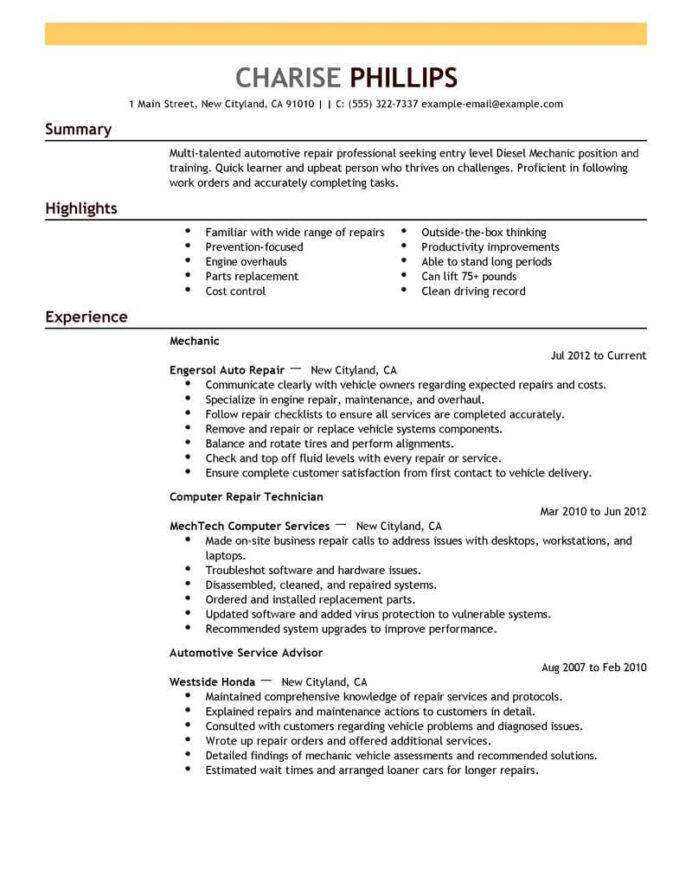 best entry level mechanic resume example livecareer samples installation repair emphasis Resume Entry Level Resume Samples