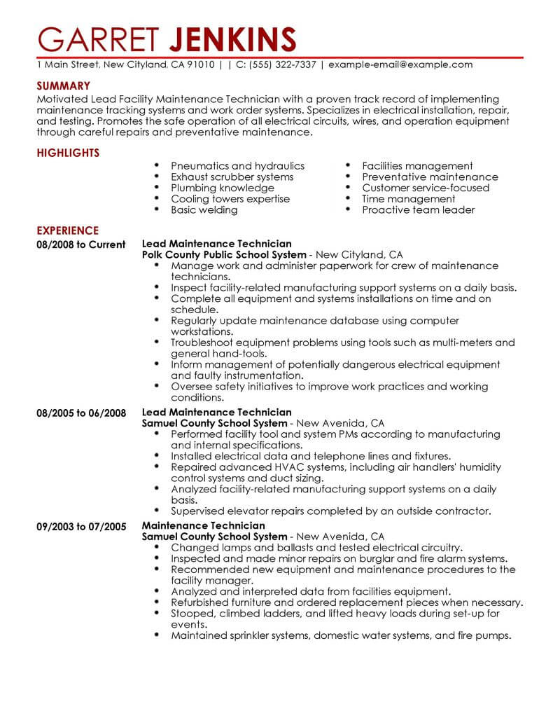 best facility lead maintenance resume example livecareer for position janitorial Resume Resume For Maintenance Position