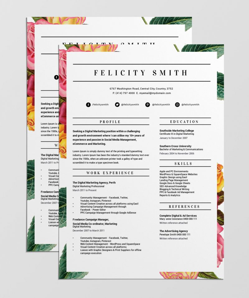best free resume templates tips on to stand out easil that floral border template 800x956 Resume Resume Templates That Stand Out