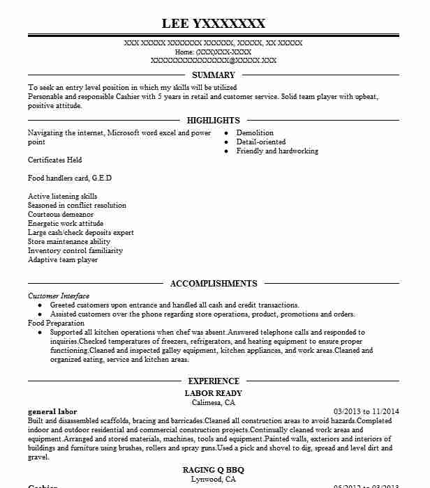 best general labor resume example livecareer examples mba or on starting business Resume General Labor Resume Examples
