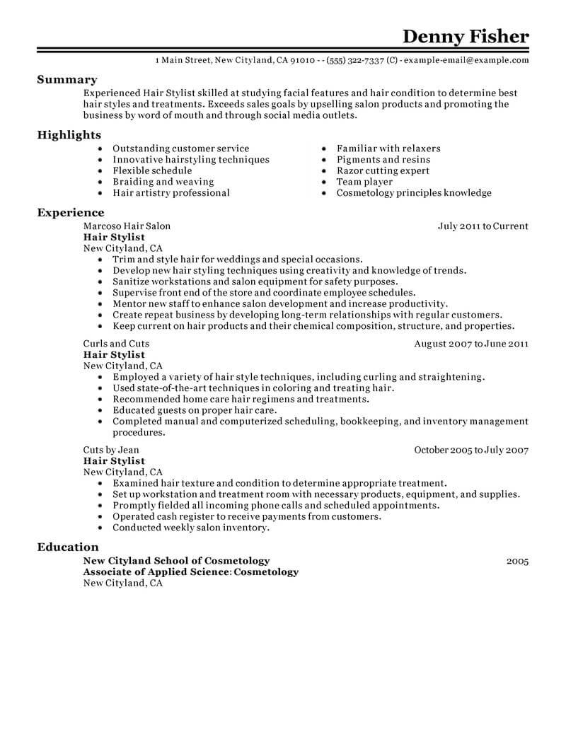 best hair stylist resume example livecareer personal care services classic mba Resume Hair Stylist Resume Example