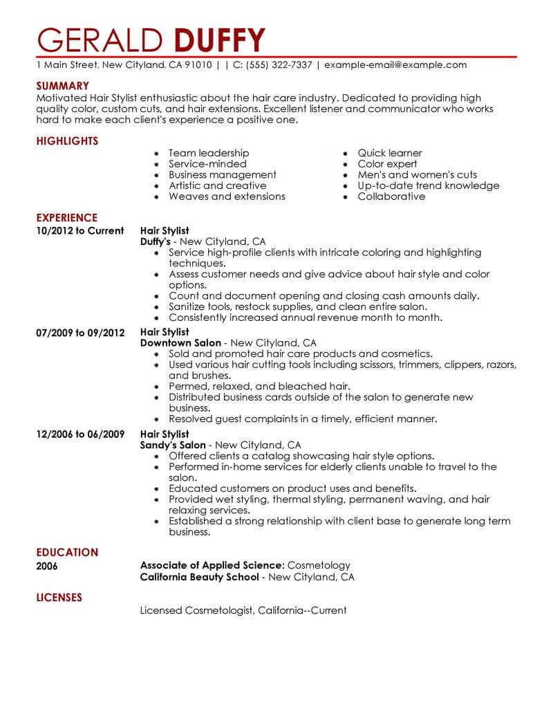 best hair stylist resume example livecareer salon spa fitness contemporary summary for Resume Hair Stylist Resume Example