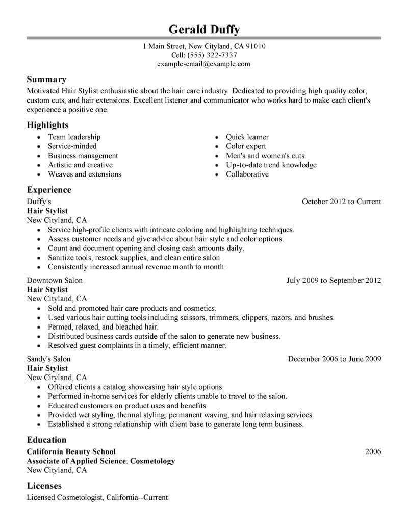 best hair stylist resume example livecareer summary salon spa fitness classic winning Resume Hair Stylist Resume Summary