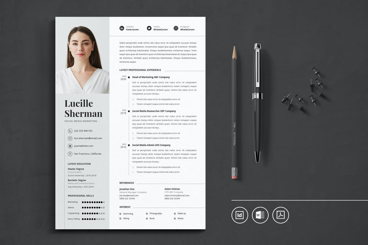 best indesign resume templates free cv theme professional template medical administration Resume Professional Resume Template 2020