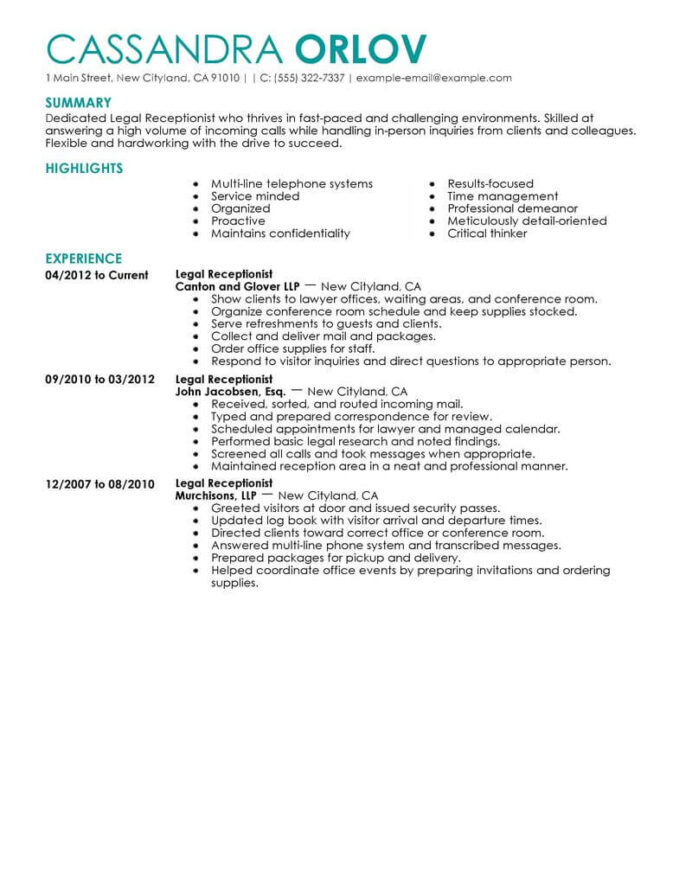 best legal receptionist resume example livecareer no experience contemporary Resume No Experience Receptionist Resume