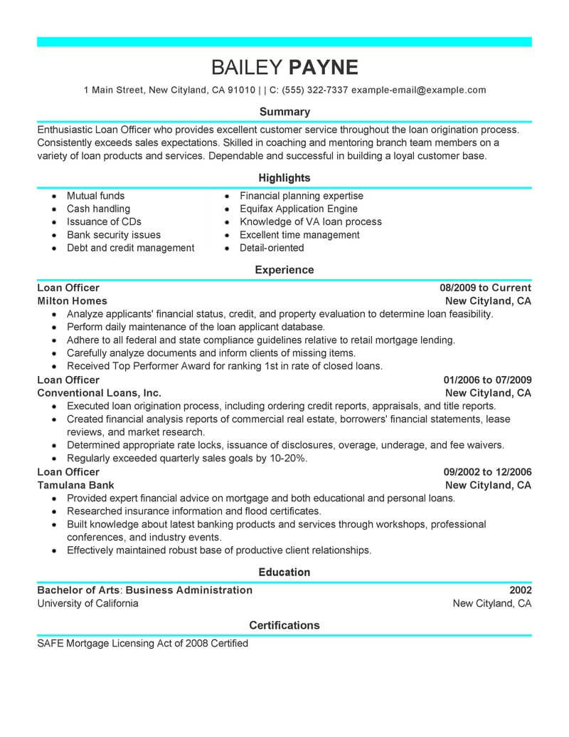 best loan officer resume example livecareer objective examples finance modern performance Resume Loan Officer Resume Objective Examples