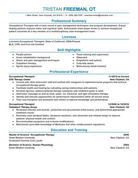 best occupational therapist resume example livecareer sample healthcare professional Resume Occupational Therapist Resume Sample