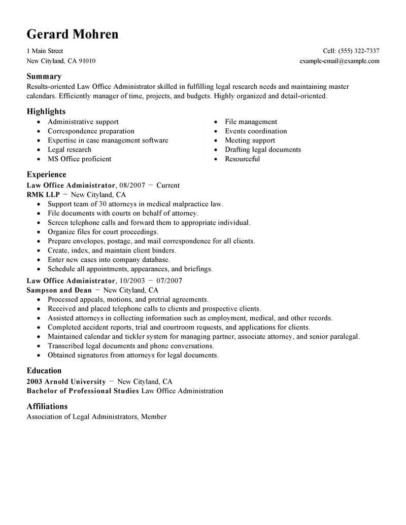 best office administrator resume example livecareer manager legal standard civil engineer Resume Office Manager Resume Example
