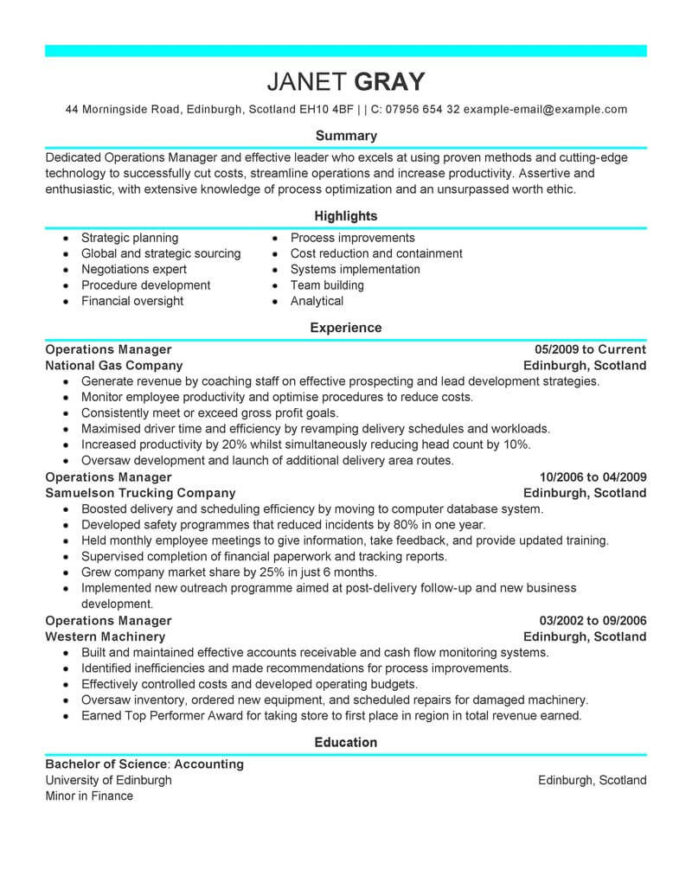 best operations manager resume example livecareer director of sample management modern Resume Best Resume Distribution Services
