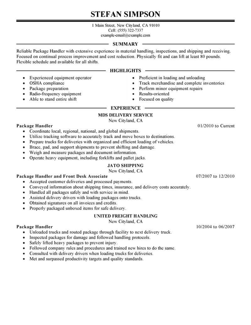 best package handler resume example livecareer warehouse material transportation Resume Warehouse Material Handler Resume