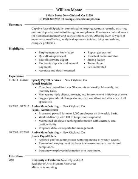 best payroll specialist resume example livecareer examples accounting finance modern Resume Payroll Resume Examples