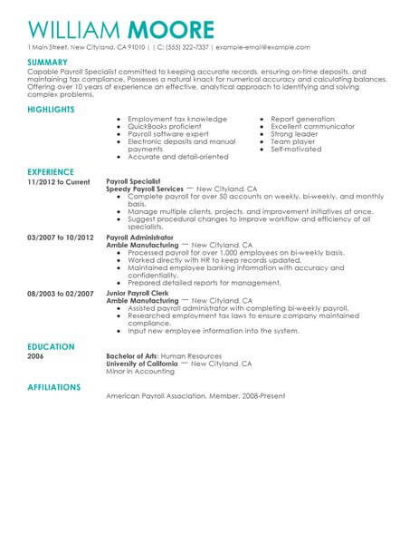 best payroll specialist resume example livecareer examples accounting finance Resume Payroll Resume Examples