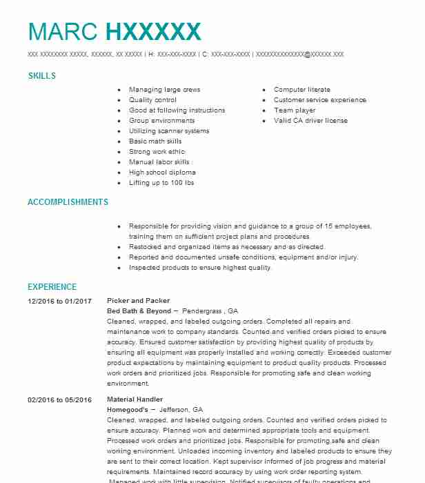 best picker and packer resume example livecareer job description for hana security simple Resume Picker Packer Job Description For Resume