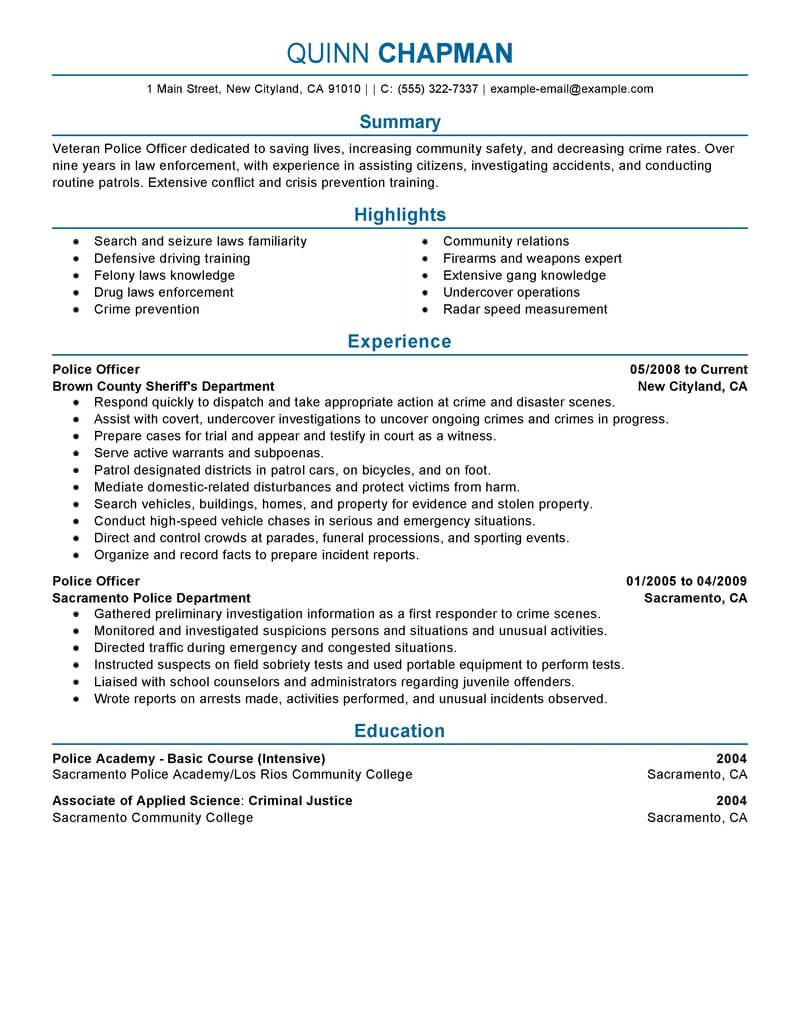 best police officer resume example livecareer experienced emergency services professional Resume Experienced Police Officer Resume