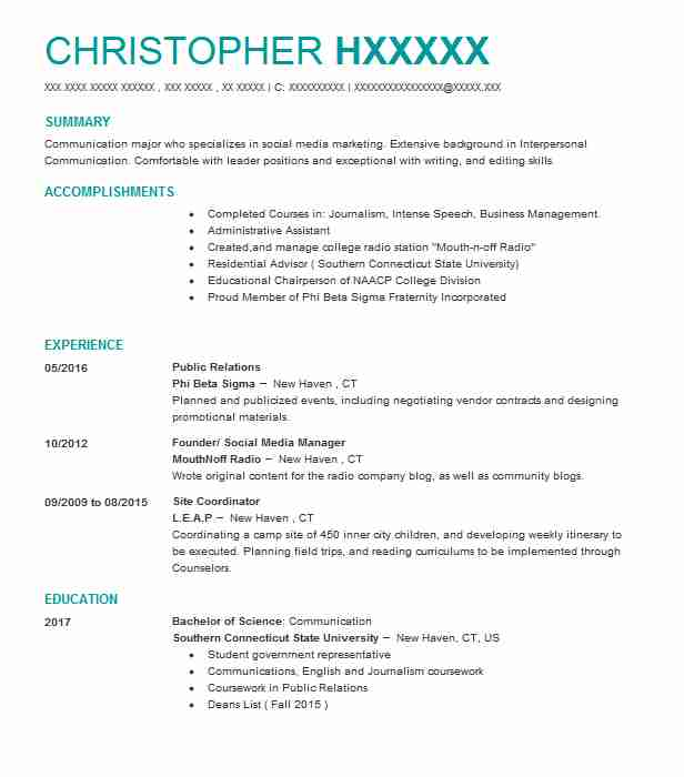 best public relations resume example livecareer student restaurant manager examples Resume Public Relations Student Resume