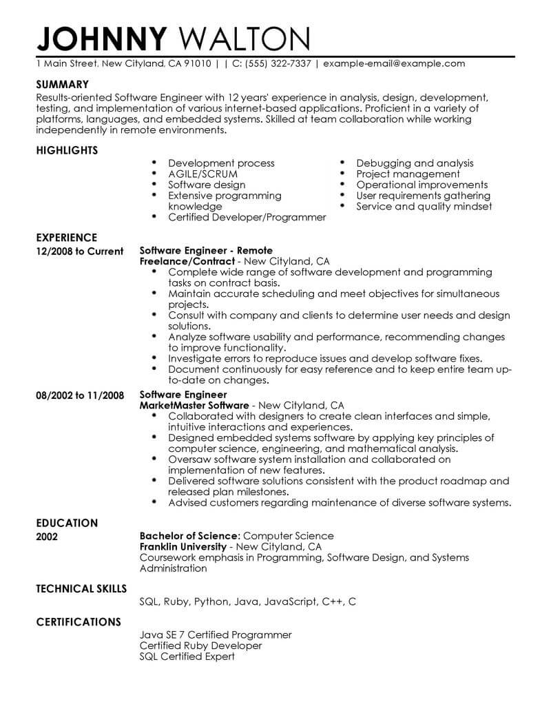 best remote software engineer resume example livecareer template computers technology Resume Resume Software Engineer Template