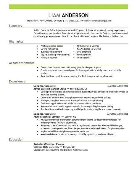 best representative resume example livecareer writing for position acounting finance Resume Writing A Resume For A Sales Position