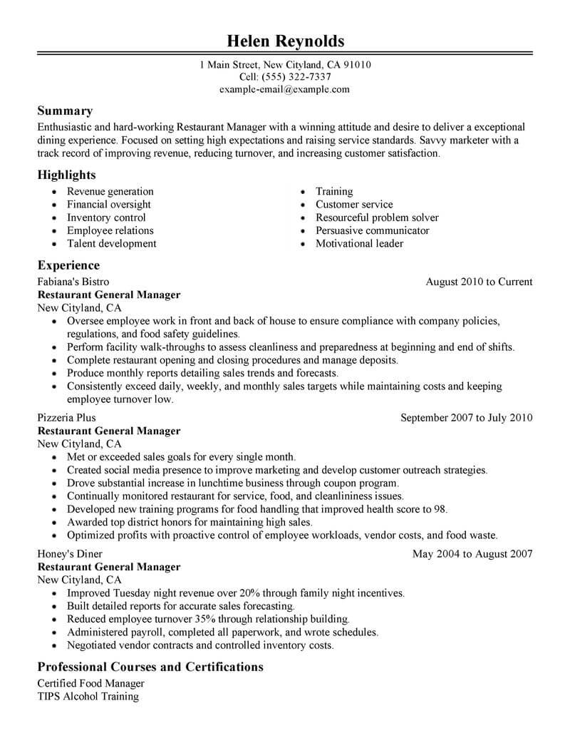 best restaurant manager resume example livecareer examples management classic experience Resume Restaurant Manager Resume Examples