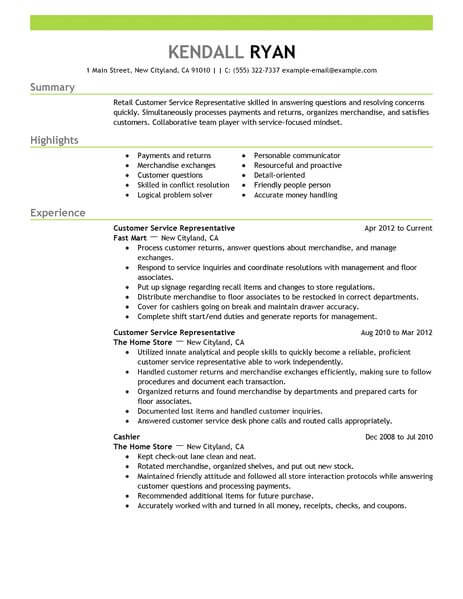 best retail customer service representative resume example livecareer examples for jobs Resume Resume Examples For Customer Service Jobs