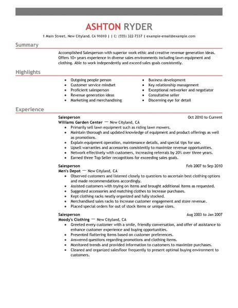 best retail salesperson resume example livecareer highlights section emphasis 463x600 Resume Resume Highlights Section