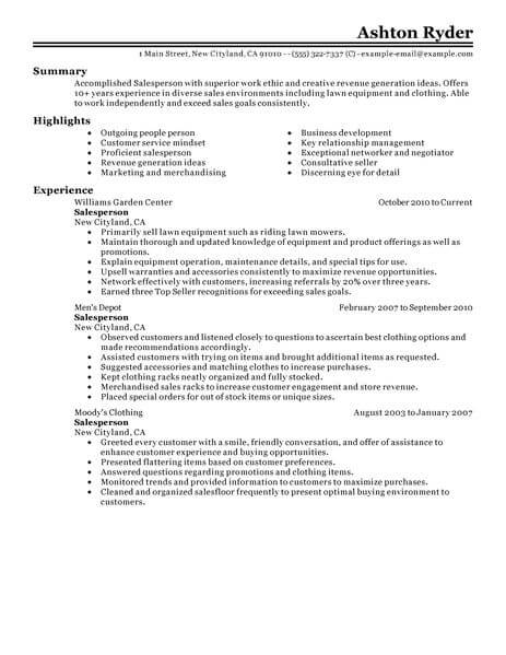 best retail salesperson resume example livecareer job template classic 463x600 new nurse Resume Retail Job Resume Template