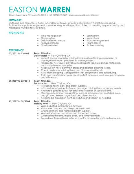 best room attendant resume example livecareer sample hotel hospitality contemporary Resume Room Attendant Resume Sample