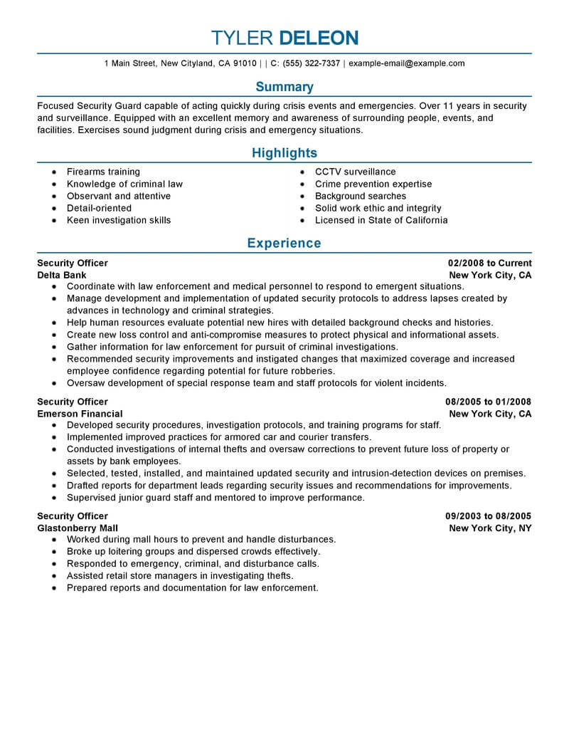 best security officer resume example from professional writing service template accounts Resume Security Officer Resume Template