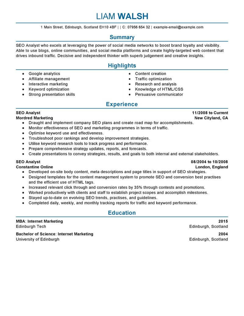 best seo resume example livecareer search optimization marketing professional examples Resume Resume Search Optimization