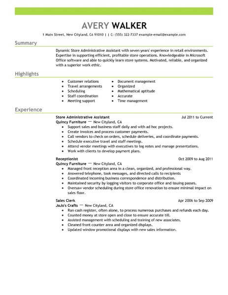 best store administrative assistant resume example livecareer administration job Resume Administration Job Description Resume