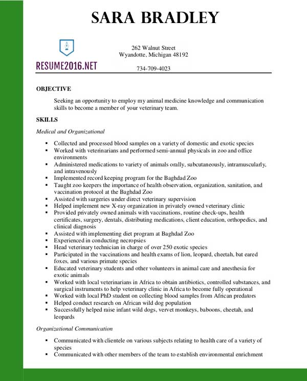 best veterinary assistant resume templates in format for veterinarians template sample Resume Resume Format For Veterinarians